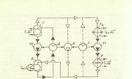 Cхема абсорбционного повышающего термотрансформатора